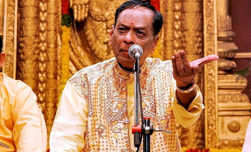 New Delhi: File photo of Veteran carnatic musician M. Balamuralikrishna who passed away in Chennai on Tuesday. Blamuralikrishna acted as Narada in Telugu movie ''Bhakta Prahalada''. He has rendered some unforgettable playback songs too. He was honoured with Padma Vibhushan in 1991. PTI Photo (PTI11_22_2016_000281B)