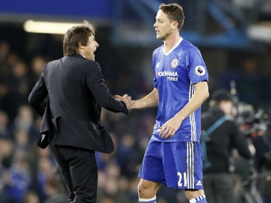 Chelsea boss Antonio Conte and Nemanja Matic celebrate the win. AP