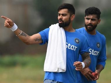 India skipper Virat Kohli (L) and Ravindra Jadeja in training prior to the 2nd Test. AFP