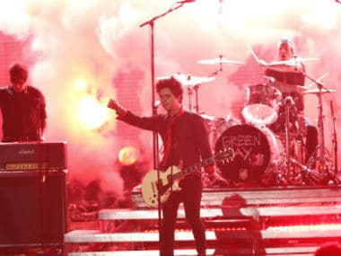 Green Day performs 'Bang Bang' at the 2016 American Music Awards. Reuters