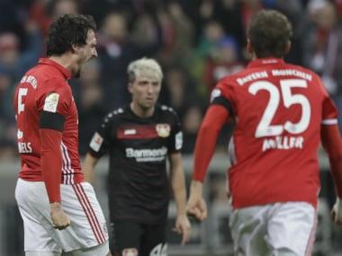 Mats Hummels (L) celebrates his goal against Bayer Leverkusen. AP