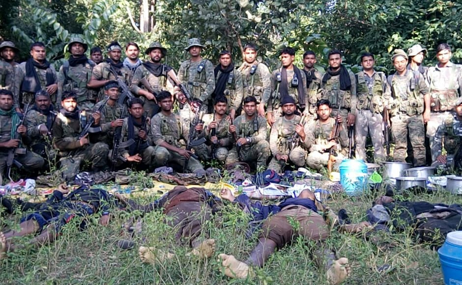 Six suspected Naxals were killed in a gun battle with CRPF commandos in Latehar district of Jharkhand on 23 November. Photo: Chetna, Pradesh 18 Ranchi