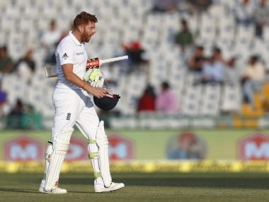 Jonny Bairstow reacts as he walks back to the pavilion following his dismissal. AP