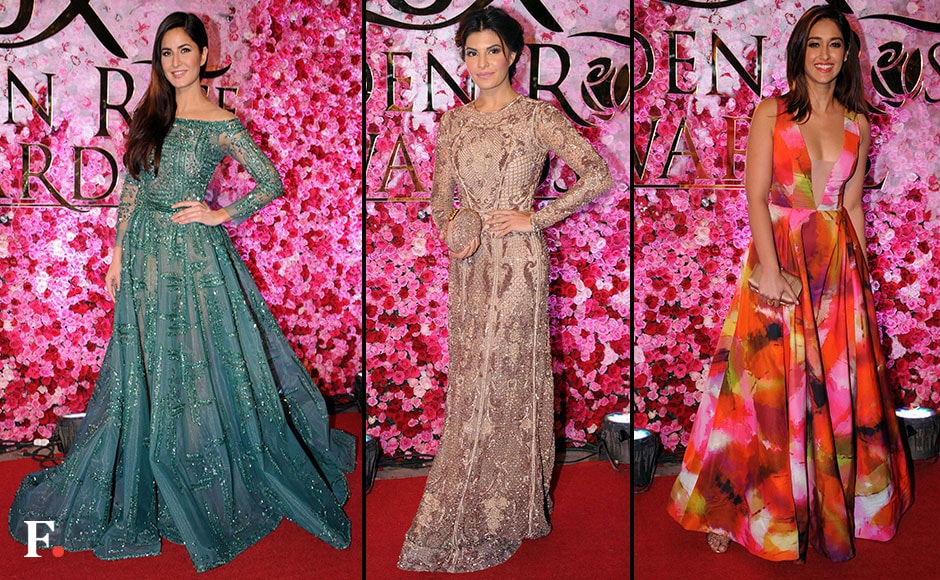 While Jacqueline Fernandes and Katrina Kaif kept it simple in a shimmery gown, Ileana D' Cruz stood out in a floral outfit. FirstPost/ Sachin Gokhale