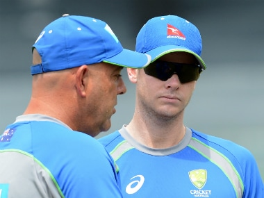 Australia coach Darren Lehmann (L) with captain Steve Smith