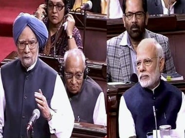 Former Prime Minister Manmohan Singh speaking on demonetisation in Rajya Sabha on Thursday. PTI