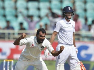 Mohammed Shami took two of the five English wickets that fell in the first session of the day. AP