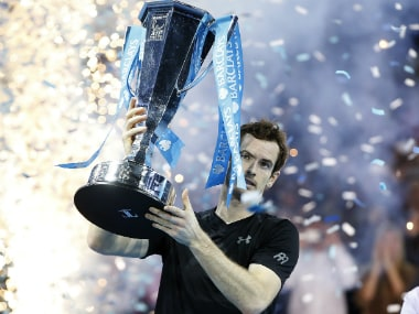 Andy Murray with the ATP Finals title. AP