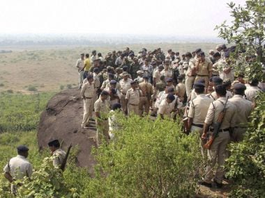 Police investigate the encounter site in Bhopal. PTI file photo.