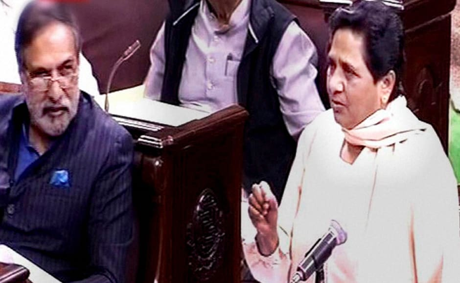 BSP President Mayawati speaks in the Rajya Sabha on the opening of the winter session of Parliament in New Delhi on Wednesday. PTI Photo / TV GRAB (PTI11_16_2016_000062B)