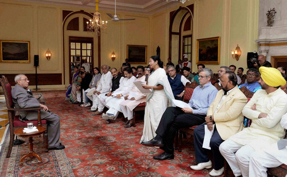 West Bengal Chief Minister Mamata Bannerjee speaks as a delegation of MPs meets President Pranab Mukherjee over demonetisation issue, at Rashtrapati Bhavan in New Delhi. PTI