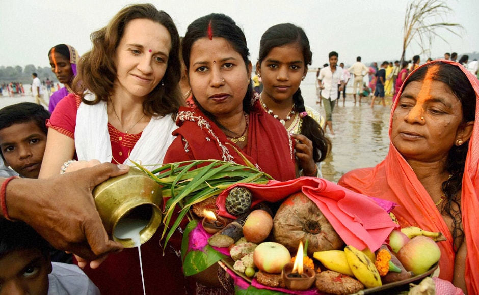 A French woman performing Chhath rituals at Bodhgaya in Bihar on Sunday. PTI
