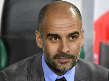 Pep Guardiola during the match between Manchester City and Borussia Monchengladbach