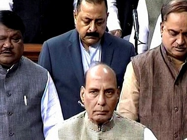 New Delhi: Union Home Minister Rajnath Singh in the Lok Sabha during the winter session of Parliament in New Delhi on Monday. PTI Photo / TV GRAB (PTI11_28_2016_000039B)