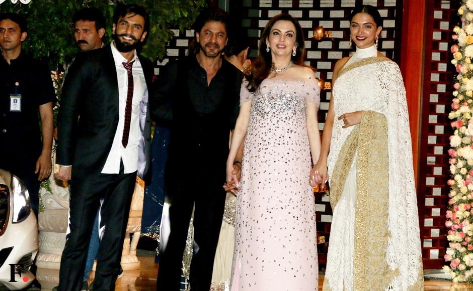 Ranveer Singh, Shah Rukh Khan, Nita Ambani and Deepika Padukone.