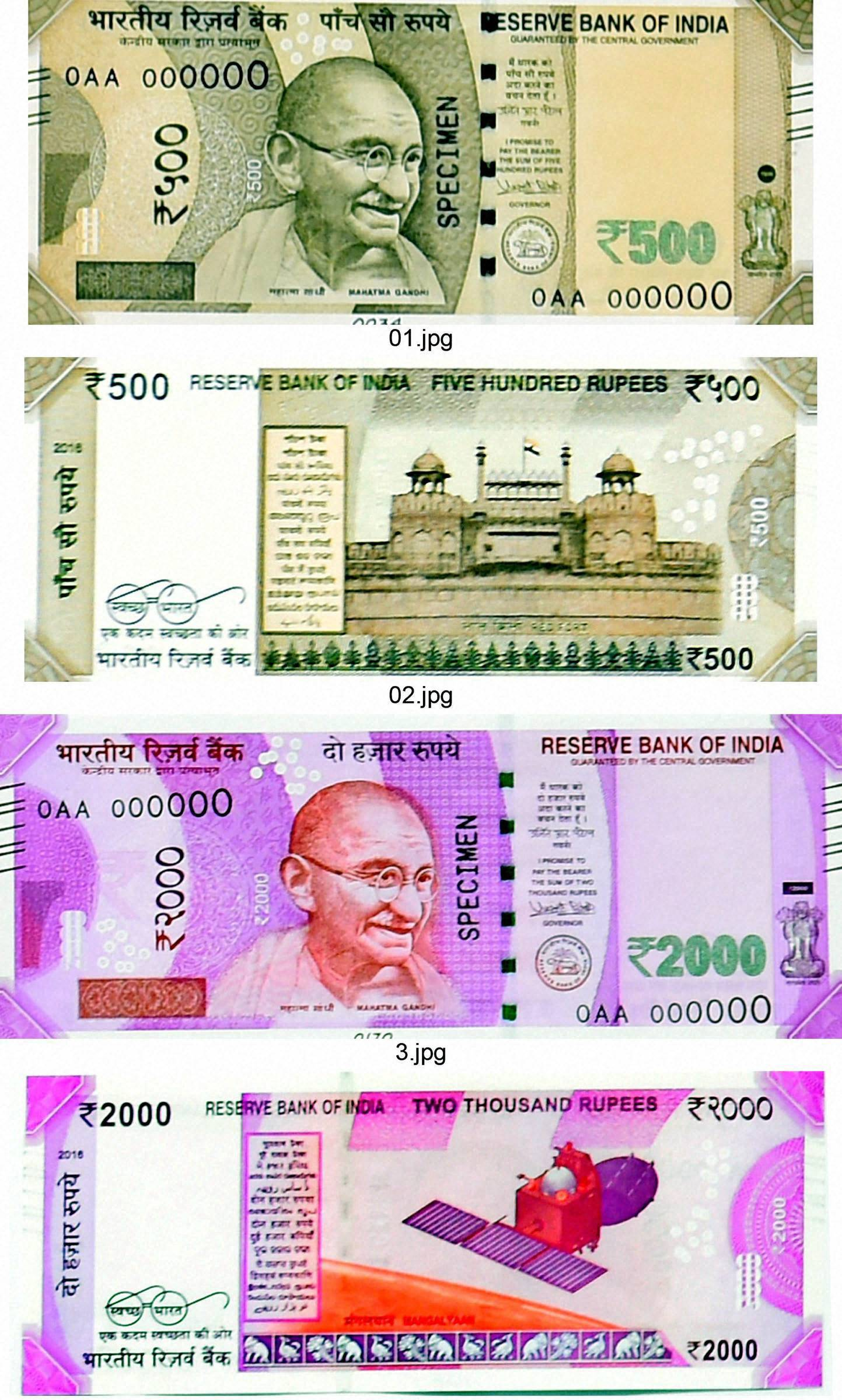 Specimen notes of new Rs 500 and Rs 2000 notes in New Delhi on Tuesday. PTI