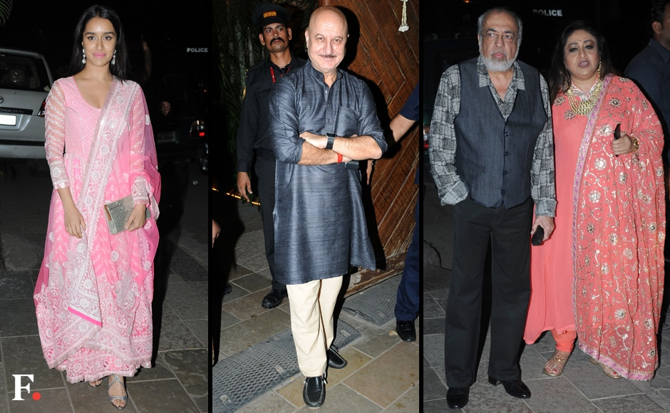 (L_R) Shraddha Kapoor, Anupam Kher, JP Dutta and his wife stop for a quick photo-op. Image by Sachin Gokhale/Firstpost