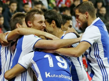 The Real Sociedad players celebrate during their win against Sporting Gijon. Image credit: Twitter/@LaLiga