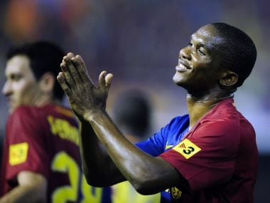 File photo of FC Barcelona's Samuel Eto'o. AP