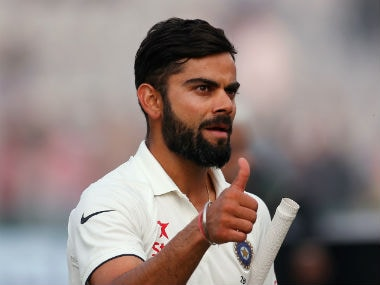 Virat Kohli gestures after India completed an eight-wicket win over England in the third Test at Mohali. Reuters