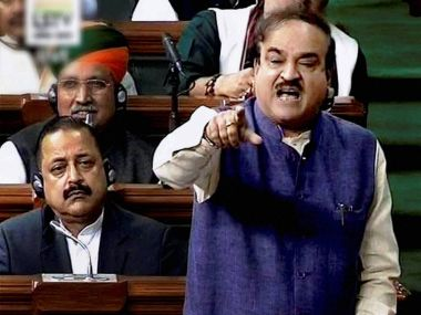 Parliamentary Affairs Minister Ananth Kumar in Lok Sabha in New Delhi on Wednesday. PTI