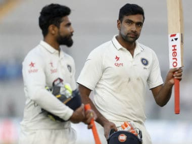 Ashwin and Jadeja walk back to the pavilion after the second day's play of the 3rd Test against England. AP