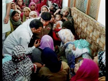 Delhi CM Arvind Kejriwal met the family of ex-serviceman Ram Kishan Grewal in Bhiwani on Thursday. PTI