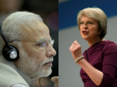 Prime Minister Narendra Modi with his British counterpart Theresa May.