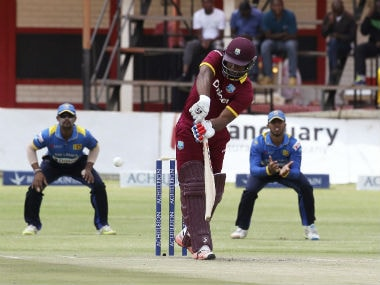 Action between West Indies and Sri Lanka at Harare on Wednesday. AP