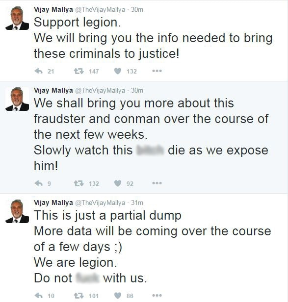 Vijay Mallyas Twitter account hacked by Legion, group that targeted Rahul, Congress