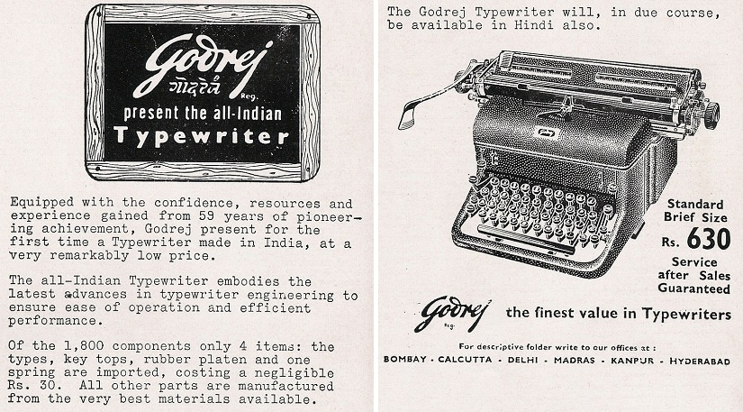 First All-Indian Typewriter by Godrej: Ad from Industrial India, 1956. Photo courtesy: Godrej Archives