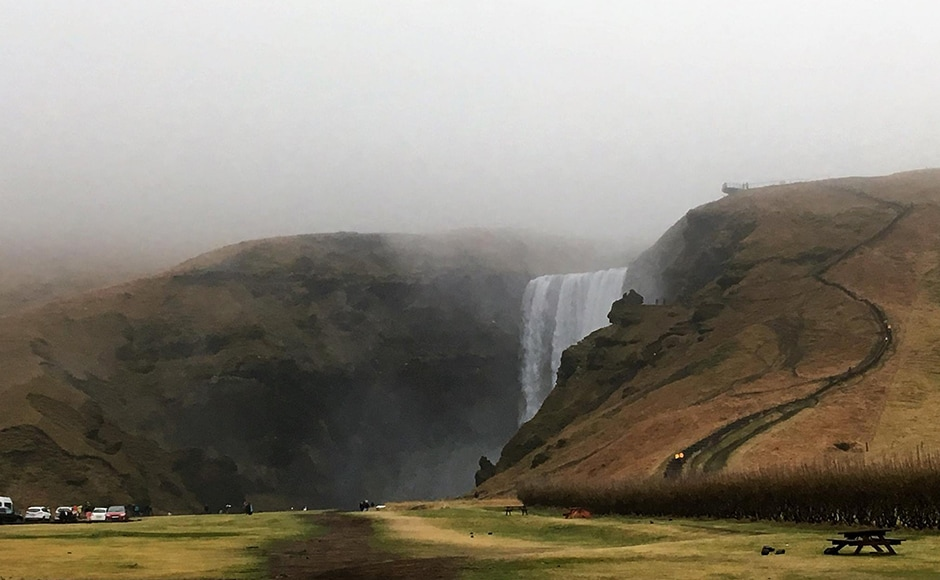 Skógafoss falls situated on the Skógá River in the south of Iceland at the cliffs of the former coastline. Photo credit: Alok Raj