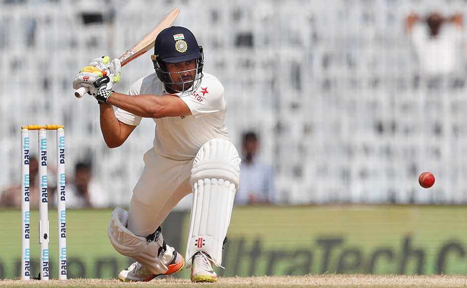 India's Karun Nair plays shot during their fourth day of the fifth cricket test match against England in Chennai, India, Monday, Dec. 19, 2016. (AP Photo/Tsering Topgyal)