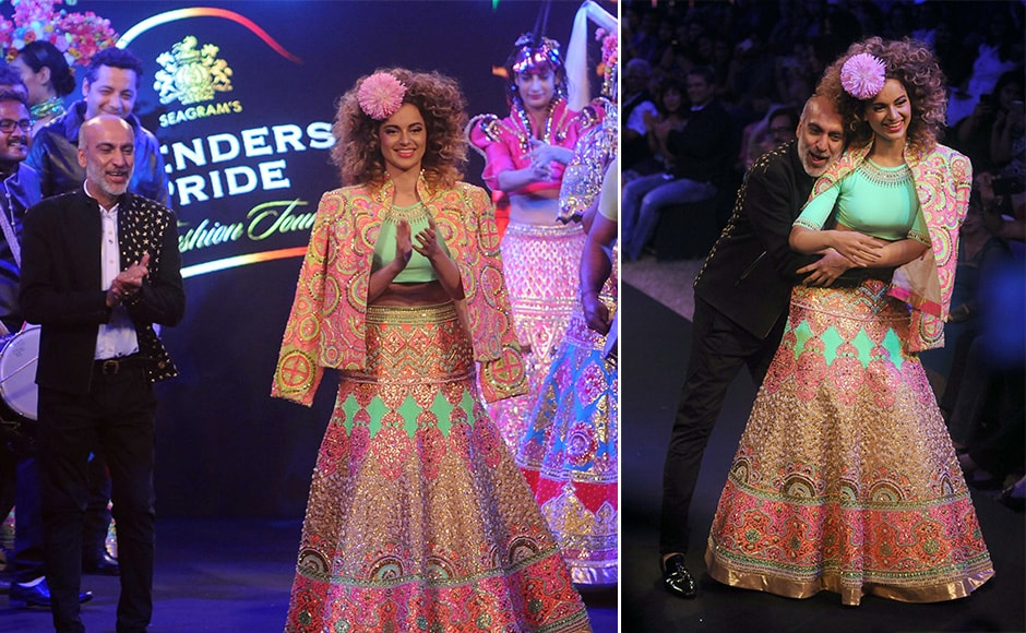 But it was Kangana Ranaut who was the cynosure of all eyes as soon as she came on ramp, as Manish Arora's showstopper. Images by Sachin Gokhale/Firstpost