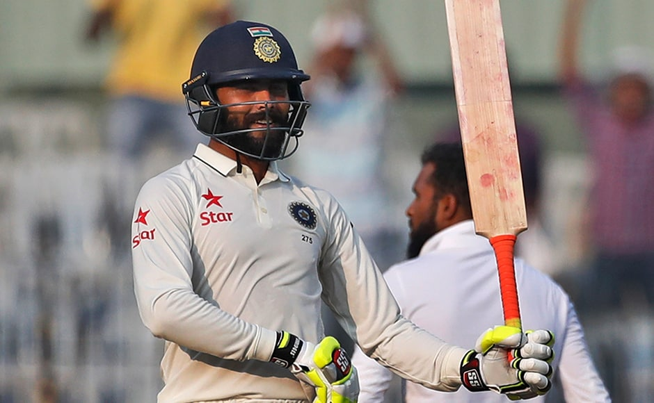 India's Ravindra Jadeja celebrates his fifty runs during their fourth day of the fifth cricket test match against England in Chennai, India, Monday, Dec. 19, 2016. (AP Photo/Tsering Topgyal)