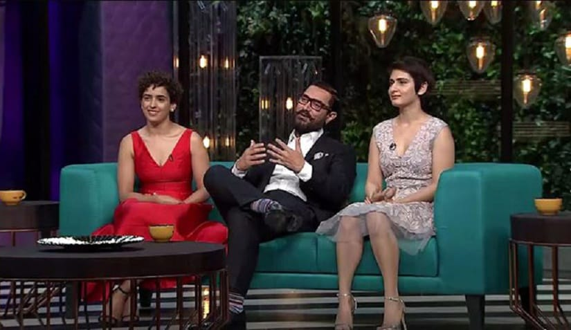 Sanya Malhotra, Aamir Khan and Fatima Sana Sheikh on 'Koffee With Karan' season 5, episode 7