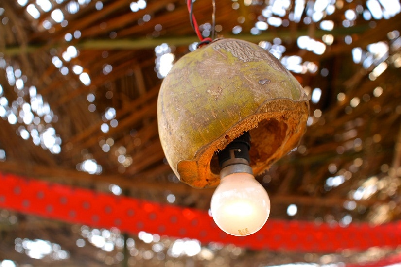 Coconut shells being used as lamps at the Nariyal Paani festival. File Photo