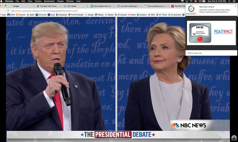 A screengrab of the FactPopup tool built by PolitiFact. Image courtesy: Reporterslab.org