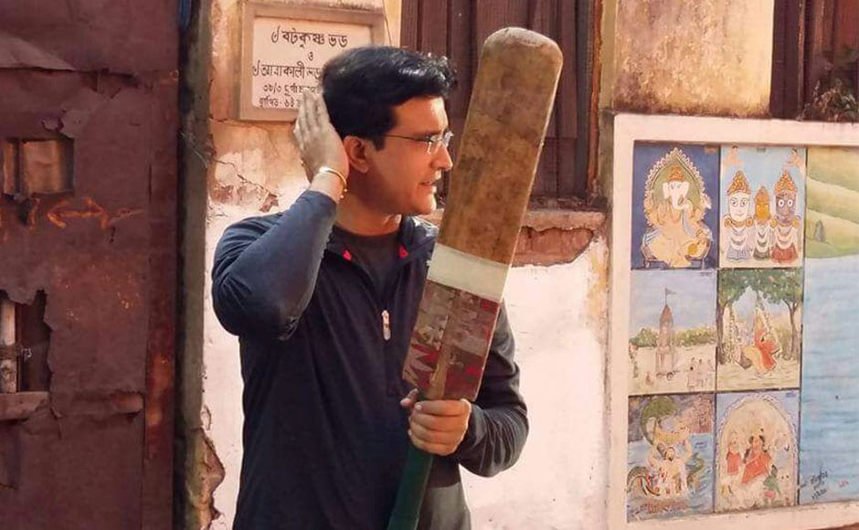 Former India captain Sourav Ganguly plays cricket on the ...