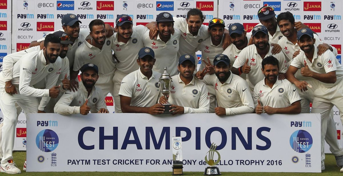 Members of the Indian cricket team pose for photographs after winning the test cricket series against England in Chennai, India, Tuesday, Dec. 20, 2016. (AP Photo/Tsering Topgyal)