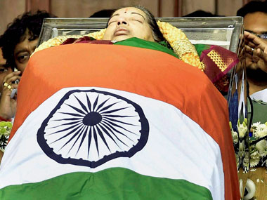 File image of the mortal remains of Tamil Nadu's former chief minister Jayaram Jayalalithaa kept for public viewing at Rajaji Hall in Chennai on Tuesday. PTI