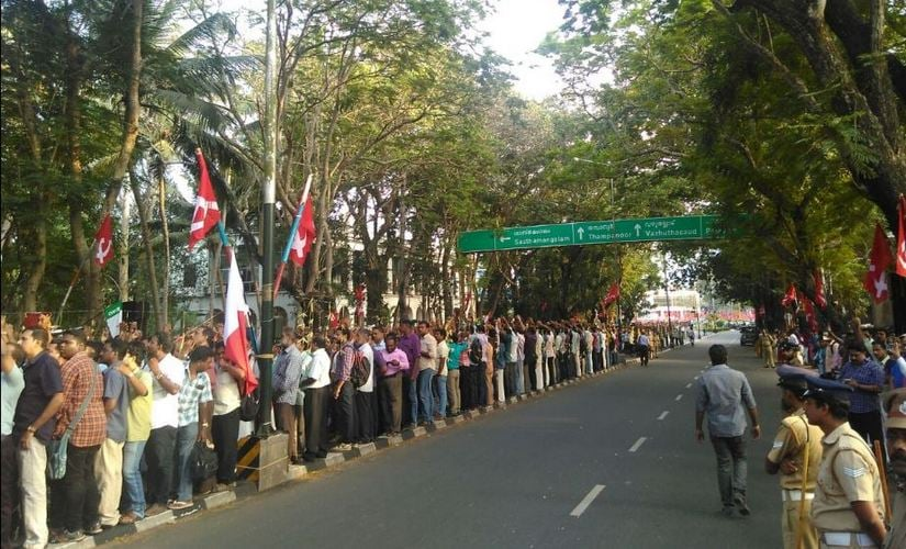 The formation of the human chain was preceded by a meeting addressed by State CM Pinarayi Vijayan. Twitter/ @cpimspeaks