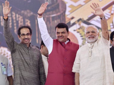 Prime Minister Narendra Modi along with CM Devendra Fadnavis and Shiv Sena President Uddhav Thackarey during the foundation in a file image. PTI