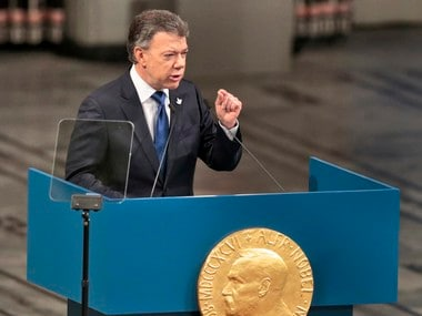 Nobel Peace Prize Laureate Colombian President Juan Manuel Santos gives a speech during the Peace Prize awarding ceremony at the City Hall in Oslo, Saturday Dec. 10, 2016. President Juan Manuel Santos are awarded this year's Nobel Peace Prize for his efforts to bring Colombia's more than 50-year-long civil war to an end. AP