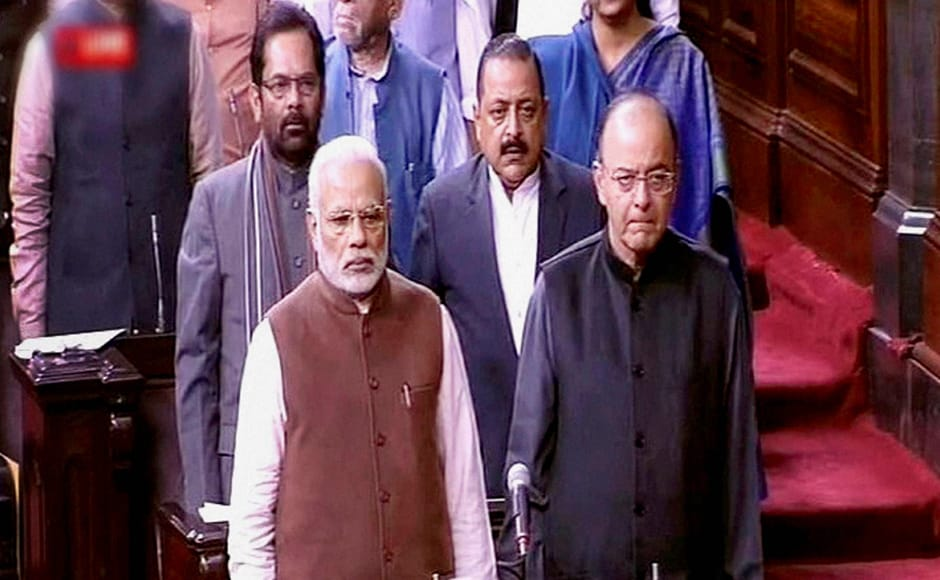 Prime Minister Narendra Modi with Finance Minister Arun Jaitley, MoS for PMO Jitendra Singh and MoS for Parliamentary Affairs Mukhtar Abbas Naqvi in the Rajya Sabha in New Delhi on Friday. PTI