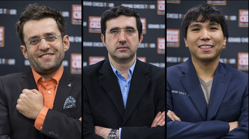 The three leaders Aronian, Kramnik and So with 1.0/1 after the first round.