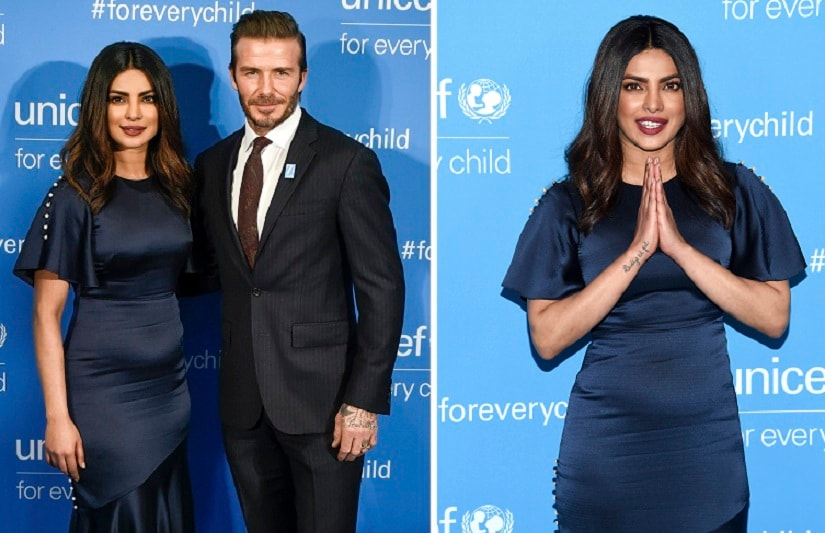 Priyanka with David Beckham. The actress has completed 10 years as a Goodwill Ambassador for Unicef. AP Photos