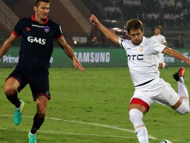 Action in the Delhi Dynamos vs NorthEast United FC match. ISL