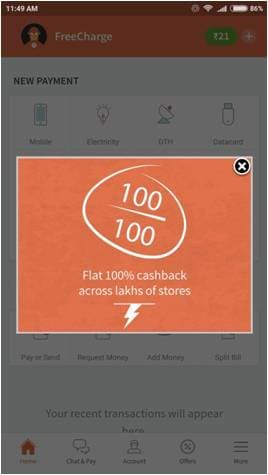 FreeCharge is wearing Santa pants with a two-day 100% cashback bonanza