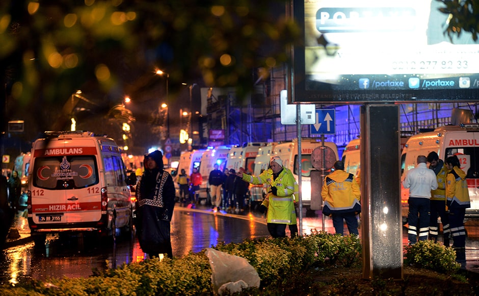 Thirty-nine people, including two Indians, were killed on Sunday when a gunman went on a rampage at an exclusive nightclub in Istanbul where revellers were celebrating the New Year. Turkey's state-run news agency said that in what was suspected to be a terror attack, an armed assailant has opened fire at a nightclub in Istanbul during New Year's celebrations. AP